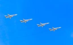4 αεροσκάφη επίθεσης Sukhoi SU-24M (ξιφομάχος) υπερηχητικά παντός καιρού Στοκ φωτογραφία με δικαίωμα ελεύθερης χρήσης