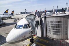 Αεροσκάφη της Lufthansa έτοιμα για την τροφή στην πύλη Στοκ Φωτογραφίες