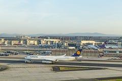 Αεροσκάφη της Lufthansa έτοιμα για την τροφή στο τερματικό 1 Στοκ εικόνες με δικαίωμα ελεύθερης χρήσης