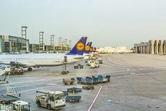 Αεροσκάφη της Lufthansa που στέκονται Στοκ φωτογραφία με δικαίωμα ελεύθερης χρήσης