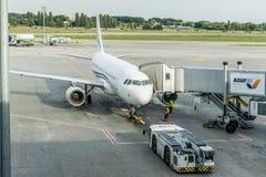 Αεροσκάφη airbus A319-100 στο τερματικό αερολιμένων στοκ φωτογραφία