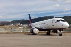 Αεροσκάφη Sukhoi SuperJet 100-95 σε μια περιοχή έκθεσης Στοκ φωτογραφίες με δικαίωμα ελεύθερης χρήσης