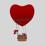 Αεροστατική αγάπη καρδιών μπαλονιών με το βαλεντίνο Αγίου Στοκ Εικόνες