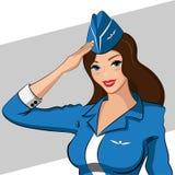 Αεροσυνοδός σε μια μπλε καφετιά τρίχα φορεμάτων Στοκ Εικόνες