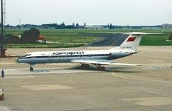 Αεροφλότ TU-134A μετά από μια άλλη πτήση από τη Μόσχα το 1982 Στοκ Φωτογραφίες