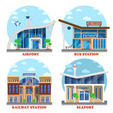 Αερολιμένας και σταθμός τρένου, θαλάσσιος λιμένας, λεωφορείο διανυσματική απεικόνιση