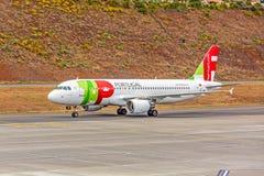 Αερολιμένας Μαδέρα - airbus A320 Στοκ Φωτογραφίες