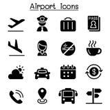 Αερολιμένας & σύνολο εικονιδίων αεροπορίας Στοκ Εικόνες