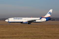 Αερολιμένας της Στουτγάρδης αεροπλάνων του Boeing 737-800 SunExpress Στοκ Εικόνες