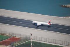 Αερολιμένας του Γιβραλτάρ απογείωσης στοκ εικόνες