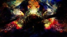Αετός στο κοσμικό διάστημα Σχεδιάγραμμα portratit κολάζ υπολογιστών Στοκ Εικόνα