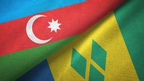 Αζερμπαϊτζάν και Άγιος Βικέντιος και Γρεναδίνες δύο υφαντικό ύφασμα σημαιών απεικόνιση αποθεμάτων