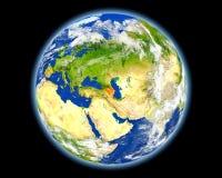 Αζερμπαϊτζάν στο κόκκινο από το διάστημα Στοκ Φωτογραφία