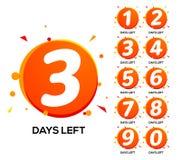 Αημένες αντίστροφη μέτρηση ημέρες Ένας δύο τριών ημερών αριστερός αριθμός, έμβλημα εβδομάδας χρονικής πώλησης αρίθμησης απεικόνιση αποθεμάτων