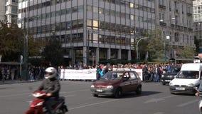 Αθήνα, Ελλάδα - 15 Νοεμβρίου 2017: ειρηνική διαμαρτυρία κοντά στην πλατεία Sintagmatos απόθεμα βίντεο