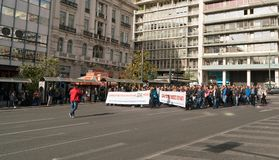 Αθήνα, Ελλάδα - 15 Νοεμβρίου 2017: ειρηνική διαμαρτυρία κοντά στην πλατεία Sintagmatos Στοκ Εικόνες