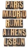 Αθήνα Λισσαβώνα Μαδρίτη Παρίσι Ρώμη Στοκ εικόνες με δικαίωμα ελεύθερης χρήσης