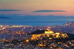Αθήνα μετά από το ηλιοβασίλεμα, Ελλάδα Στοκ Φωτογραφία