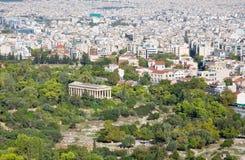Αθήνα - ναός Hephaestus από το λόφο Areopagus Στοκ φωτογραφία με δικαίωμα ελεύθερης χρήσης