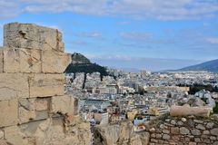 Αθήνα που βλέπει από την ακρόπολη Στοκ φωτογραφία με δικαίωμα ελεύθερης χρήσης
