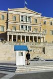 ΑΘΗΝΑ, ΕΛΛΑΔΑ - 19 ΙΑΝΟΥΑΡΊΟΥ 2017: Καταπληκτική άποψη του ελληνικού Κοινοβουλίου στην Αθήνα Στοκ Φωτογραφίες