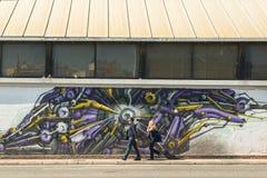 ΑΘΗΝΑ, ΕΛΛΑΔΑ - σύγχρονη τέχνη γκράφιτι στους τοίχους πόλεων Στοκ φωτογραφία με δικαίωμα ελεύθερης χρήσης