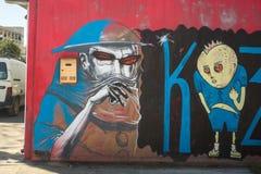ΑΘΗΝΑ, ΕΛΛΑΔΑ - σύγχρονη τέχνη γκράφιτι στους τοίχους πόλεων Στοκ Εικόνες