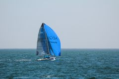 Αθλητές ομάδας που συμμετέχουν στον ανταγωνισμό ναυσιπλοΐας - regatta, που διοργανώνεται στην Οδησσός Ουκρανία SB20 - στοκ φωτογραφία