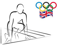 αθλητής Λονδίνο του 2012 που συναγωνίζεται την έτοιμη έναρξη Στοκ Φωτογραφίες