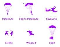 Αθλητικά διανυσματικά επίπεδα εικονίδια ελεύθερων πτώσεων με αλεξίπτωτο και αλεξίπτωτων Στοκ εικόνα με δικαίωμα ελεύθερης χρήσης