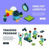 Αθλητικά εμβλήματα isometric Αθλητικές διανυσματικές τρισδιάστατες απεικονίσεις αθλητικού ανταγωνισμού λαών ικανότητας ασκήσεων υ απεικόνιση αποθεμάτων