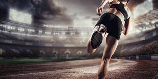 Αθλητικά υπόβαθρα Στάδιο ποδοσφαίρου και τρέχοντας διαδρομή τρισδιάστατος δώστε Στοκ φωτογραφίες με δικαίωμα ελεύθερης χρήσης