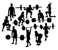 Αθλητικές σκιαγραφίες ανδρών και γυναικών Weightlifter, διανυσματικό σχέδιο τέχνης Στοκ φωτογραφία με δικαίωμα ελεύθερης χρήσης