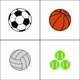 Αθλητικές σφαίρες καθορισμένες, διανυσματικό επίπεδο ύφος Στοκ Φωτογραφίες