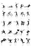Αθλητικές διανυσματικές μαύρες σκιαγραφίες Στοκ Φωτογραφίες