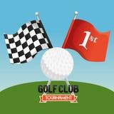 Αθλητική λέσχη γκολφ με τις σημαίες απεικόνιση αποθεμάτων