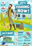 Αθλητική περιπέτεια αλιείας, εξοπλισμός σύλληψης ψαράδων απεικόνιση αποθεμάτων