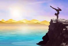 Αθλητική σκιαγραφία γυναικών σε έναν απότομο βράχο διανυσματική απεικόνιση