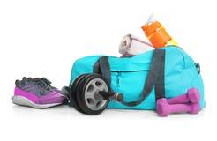 Αθλητική τσάντα και ουσία γυμναστικής Στοκ Εικόνες