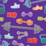 Αθλητικός εξοπλισμός, υγιή στοιχεία τρόπου ζωής πρότυπο άνευ ραφής διανυσματική απεικόνιση