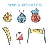 Αθλητικός εξοπλισμός Orienteering επίσης corel σύρετε το διάνυσμα απεικόνισης ελεύθερη απεικόνιση δικαιώματος