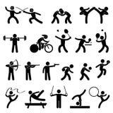 αθλητικός εσωτερικός αθλητισμός εικονιδίων παιχνιδιών Στοκ εικόνα με δικαίωμα ελεύθερης χρήσης