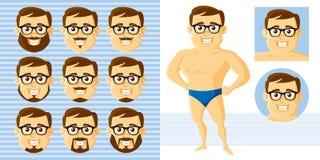 Αθλητικός καθορισμένος χαρακτήρας κινουμένων σχεδίων προσώπου ατόμων Στοκ Εικόνες