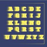 Αθλητικός τρισδιάστατος διανυσματικός κίτρινος αλφάβητου Στοκ Εικόνες