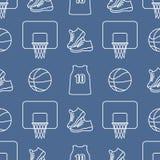 Αθλητικό άνευ ραφής σχέδιο Εξοπλισμός καλαθοσφαίρισης ελεύθερη απεικόνιση δικαιώματος