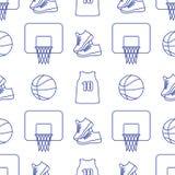 Αθλητικό άνευ ραφής σχέδιο Εξοπλισμός καλαθοσφαίρισης απεικόνιση αποθεμάτων
