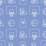 Αθλητικό άνευ ραφής σχέδιο Εξοπλισμός καλαθοσφαίρισης διανυσματική απεικόνιση