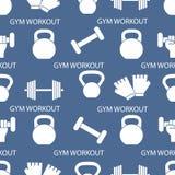 Αθλητικό άνευ ραφής σχέδιο Εξοπλισμός Weightlifting απεικόνιση αποθεμάτων