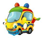 Αθλητικό αυτοκίνητο κινούμενων σχεδίων που χαμογελά και που κοιτάζει - όπως το ασθενοφόρο Στοκ Εικόνα