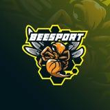 Αθλητικό διάνυσμα σχεδίου μασκότ λογότυπων μελισσών με το σύγχρονο ύφος έννοιας απεικόνισης για την εκτύπωση διακριτικών, εμβλημά ελεύθερη απεικόνιση δικαιώματος